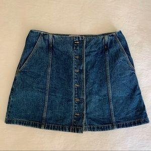 Wilfred Free Aritzia Denim Button-Front Mini Skirt